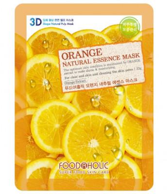 Тканевая 3D маска с экстрактом апельсина FoodaHolic Orange Natural Essence Mask 23мл: фото