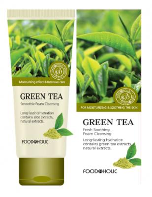 Пенка для умывания с зеленым чаем FoodaHolic Green Tea Fresh Soothing Foam Cleansing 180мл: фото