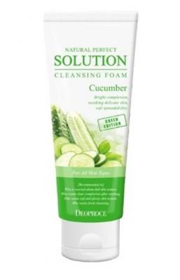 Пенка для умывания с огурцом DEOPROCE Natural perfect solution cleansing foam green edition cucumber 170г: фото