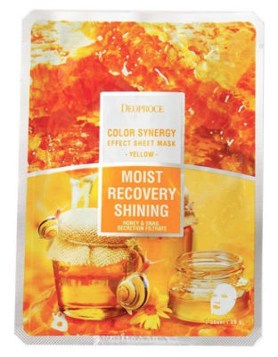 Маска с фильтратом улитки и мёдом DEOPROCE Color synergy effect sheet mask yellow 20г: фото