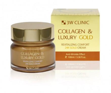 Крем для лица омолаживающий с коллагеном и коллоидным золотом 3W CLINIC Collagen & Luxury Gold Cream: фото