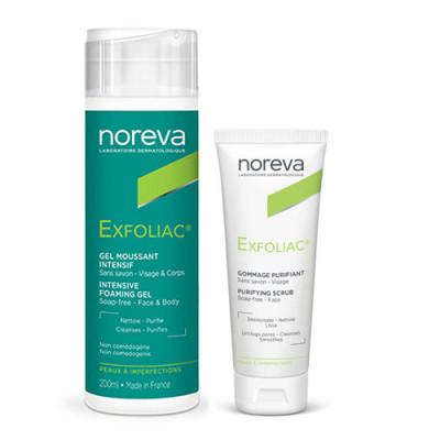 Набор проблемной кожи NOREVA EXFOLIAC: Интенсивный пенящийся гель 200мл + Очищающий скраб 50мл: фото