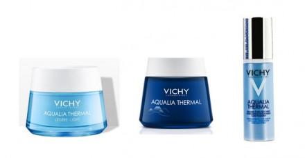 Набор Vichy Aqualia Thermal: Легкий крем 50мл + Ночной СПА-РИТУАЛ 75мл + Пробуждающий бальзам для контура глаз 15мл: фото