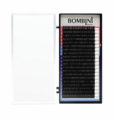 Ресницы Bombini Черные, 20 линий, изгиб D+ – MIX 9-12 0.12: фото