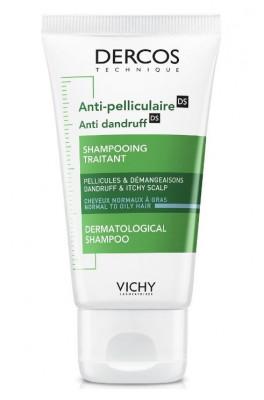 Шампунь-уход интенсивный против перхоти для нормальных и жирных волос Vichy Dercos 50 мл: фото