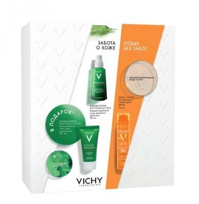 Набор летнего ухода за проблемной кожей Vichy Capital Ideal Soleil: Освежающий спрей-вуаль SPF50, 75 мл + Normaderm Phytosolution Корректирующий дневной уход 50 мл + Normaderm Phytosolution Очищающий гель для умывания 50 мл: фото