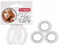Резинки-пружины для волос Titania Anti Ziep 4см прозрачные 3шт: фото