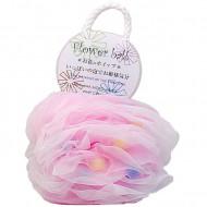 Мочалка для тела в форме шара Yokozuna Flower ball розовая: фото